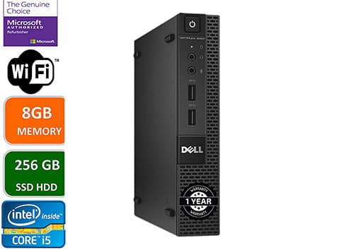 Dell Optiplex 9020 Ultra Small Tiny Desktop Micro PC (Intel Core i5-4570T, 8GB Ram, 256 GB SSD de Estado sólido, WiFi, Bluetooth, HDMI Win 10 Pro (renovado)