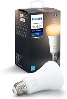 Philips Hue White Ambiance A19 LED Smart Bulb, Bluetooth & Zigbee compatible (Hue Hub Optional), voice activated with Alexa