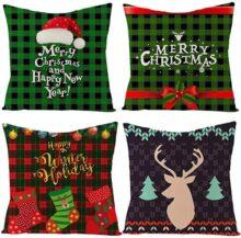 Lecone Fundas de Almohada de Navidad, 4pcs de Fundas de Almohada de 18 x 18 Pulgadas Funda de cojín de Lino de algodón Cuadrado Decoración navideña para el hogar