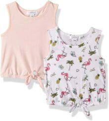 Flapdoodles - Conjunto de 2 Camisetas para niña con Estampado y Tanque sólido