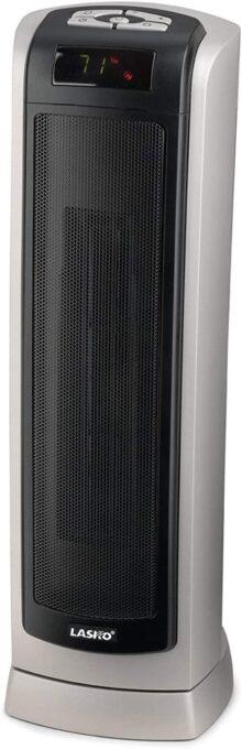 Lasko Remote Control Ceramic Tower Heater Negro, Plata - Calefactor