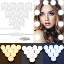 LONK Luces para Espejo Maquillaje 10 Bombillas LED 3000K-6500K, Lámparas del Espejo Maquillaje Estilo Hollywood 3 Colores 5 Niveles de Brillo, Luces del Espejo de Tocador con USB Función de Memoria