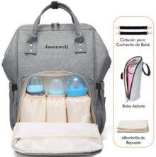 Jasonwell Mochila Pañalera Moderna Pañalera Backpack Multifuncional para Viajes Mochila Para Lactancia a Prueba de Agua Para el Cuidado Gran Capacidad de Pañales Cambiador de Bolsadel