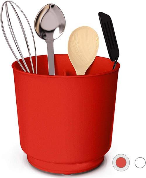 Cooler Kitchen - Organizador de utensilios giratorio extragrande y resistente con base pesada sin pinchazos, separador extraíble y inserto de agarre, a prueba de óxido y apto para lavaplatos, Casual, Rojo, 17.78 cm, 1