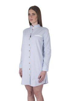 Züell - Vestido de Mujer Corto Casual de Manga Larga Estilo Camisero Camiseta con Botones y Cuello Mao Mandarín de Algodón