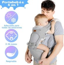 Lictin Mochila Portabebe - 6 en 1 Portabebe Ergonómico con Asiento Transpirable y Ajustable, con Dos Baberos de Algodón, una Cadena de Chupete, Adecuado para Bebés de 3.5KG a 15KG (Gris)