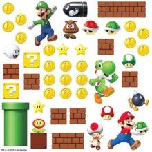 RoomMates RMK2351SCS Nintendo Súper Mario construye una escena, etiquetas para la pared, 45 unidades