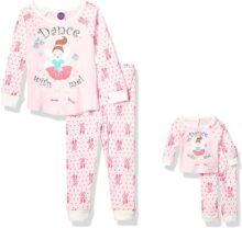 Dollie & Me Pijama de Ajuste cómodo para niñas con Traje de muñeca a Juego, 4 Piezas Juego de Pijama para Niñas