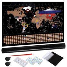 Anpro Mapa del Mundo Raspado en Oro Negro con Accesorios,Scratch Off World Map