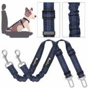 Slowton Cinturón de seguridad para perros, cinturones para mascotas coche cinturón ajustable con doble uso elástico bungee cinturón de seguridad en vehículo de coche para pequeños medio perros grandes viaje en coche y caminar, Regalo de Navidad