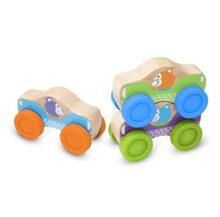 Melissa & Doug First Play ¡Autos Animales Apilables! Juguete de Madera, Juguete de Desarrollo para Bebés y Niños Pequeños (3 Piezas)