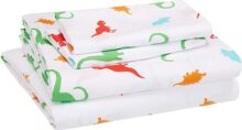 AmazonBasics Juego de sábanas, microfibra suave y fácil de lavar, infantil, matrimonial, dinosaurios multicolores