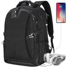 NEWHEY Mochila para portatil con USB Puerto de Carga Daypack Compartimiento 17 Pulgada Laptop Mochilas para antirrobo Impermeable Escolar Negocio al Aire Libre College Estudiante Mochilas para Hombre