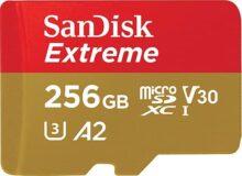 SanDisk RAM-3113 Memoria Extreme 256GB Micro SDXC 160Mb/S 4K Clase 10 A2 V30 C/Adaptador,