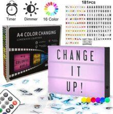 Cine Caja de Luz LED A4 - Combinación libre Cartel Luminoso Cinematográfico Luces Cálida Cinema Light Box con 181 Letras Números Símbolos Emojis Decorativas de bricolaje para Habitación Tienda Cumpleaños Bodas Oficina y Otros Eventos Especiales