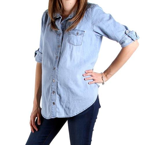 Mom 2 Be Blusa de Maternidad Tipo Jeans Azul Claro