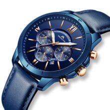 Relojes Hombre Reloj Grandes de Pulsera Militar Cronógrafo Impermeable Deportes Diseñador Azul Reloj Hombre de Cuero Luminosos Negocios Analógico