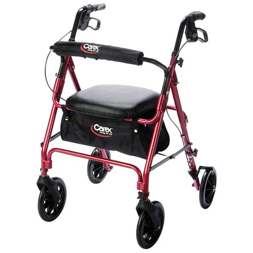Carex Rolling Walker/Rollator with Padded Seat and Backrest