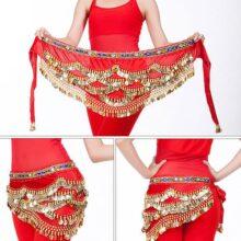 Dioche Danza del Vientre Cinturón, Cinturón de Danza Oriental Belly Dance Cinturón de Lentejuelas con 328 Piezas de Oro