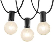 AmazonBasics Luces para patio, negro, 15 m