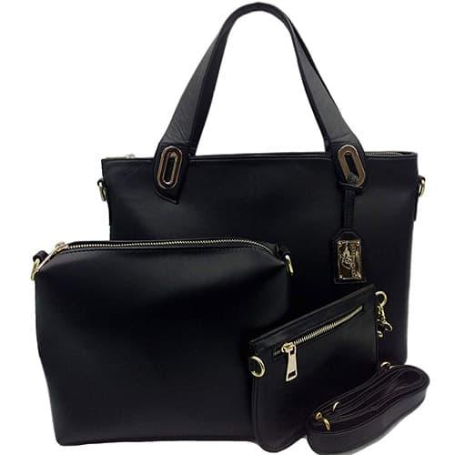 Bolsa de piel para dama MF654, Colección Piel Genuina (incluye mariconera y cartera) Color Negro