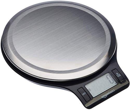 AmazonBasics Báscula digital con pantalla LCD, acero inoxidable, para cocina (baterías incluidas)