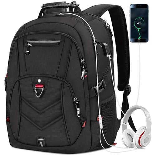 Mochila Laptop Mochila para Portátil de 17 Pulgadas con Puerto de Carga USB Impermeable al Aire Libre Mochila de 45L Mochila Antirrobo Mochilas para Estudiantes de Negocios Mochila de Viaje Grande para Hombres Mujeres Negro