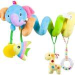 Juguetes de peluche en forma de espiral para bebés y cochecitos, juguetes para actividades de viaje, juguetes para colgar, juguetes para asientos de automóviles, accesorios de cuna con campana para