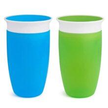 Munchkin Miracle 360 Vaso para niños, verde/azul, 295 ml, 2 unidades