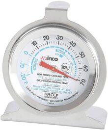 Winco Dial Termómetro para refrigerador/congelador con gancho y base de panel, 2 pulgadas