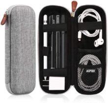 AGPTEK Estuche para Apple Pencil, Cubierta de EVA para Lápiz de iPad/Pro, Microsoft, Samsung, HAHAKEE, Wacom etc. Soporta Cable USB y Auriculares, Gris