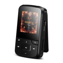 AGPTEK Reproductor MP3 Bluetooth Deportivo con HD Pantalla 1.5 Pulgada, G6 Mini Clp3 Mp3 Running con con Radio FM, Grabadora de Voz, Banda del Brazo, Funda Silicona, Negro
