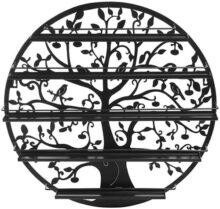 Árbol silueta negro redondo de metal montado en la pared 5 Nivels estante de esmalte de uñas / Exhibición de arte de la pared