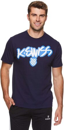 K-Swiss Men's Graphic Workout T Shirt - Short Sleeve Gym & Training Athleisure Tee - Graffiti Navy, Large