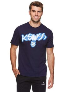 K-Swiss Men's Graphic Workout T Shirt - Short Sleeve Gym & Training Athleisure Tee - Graffiti Navy, Medium