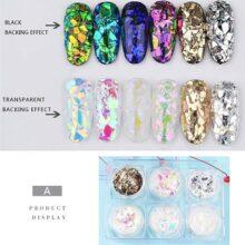 Lookathot 6Boxes / Set Irregular Nail Art Glitter Foil Slice Glass Piezas rotas Pegatinas de decoración Candy Star Star Mirror Efecto DIY Accesorios
