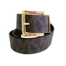 Michael Kors 553143 - Cinturón de piel para mujer con hebilla dorada y logotipo Mk, talla XL