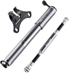 Pro Bike Tool - Bomba de bicicleta con manómetro para bicicleta Presta y Schrader – Inflación precisa – Mini bomba de neumáticos de bicicleta para bicicletas de carretera, montaña y BMX, alta presión 100 psi, incluye kit de montaje