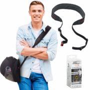 Ez Go - Transportador de casco de motocicleta – accesorio de moto imprescindible, forma manos libres para llevar casco, correa para el hombro para motociclista.Adecuado para mujeres y hombres – solución alternativa para bolsas de cascos de motos, Negro