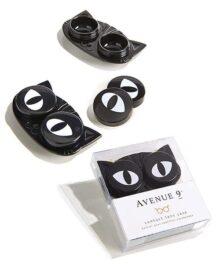 Funda de acrílico para lentes de contacto, 3 x 2, diseño de ojos de gato, color blanco y negro