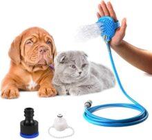 CoWalkers Herramienta de baño para Mascotas,Rociador de Ducha para Mascotas y depurador en uno, bañera con Ducha y Manguera de jardín al Aire Libre (Azul)