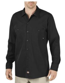 Dickies Occupational Workwear LL535BK 4XL Polyester/Cotton Men's Long Sleeve Industrial Work Shirt, 4X-Large, Black