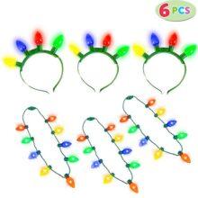 JOYIN 6 Piezas de Diadema y Collar con luz LED de Navidad con 6 Modos de Parpadeo para Accesorios de Fiesta