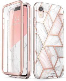 Cosmo Funda iPhone XR SUPCASE con Purpurina de Cuerpo Completo Brillante Transparente Parachoques Carcasa con Protector de Visualización Integrado (Marble)