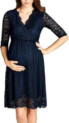 HELLO MIZ Vestido de Maternidad de Encaje con Envoltura de imitación para Lactancia