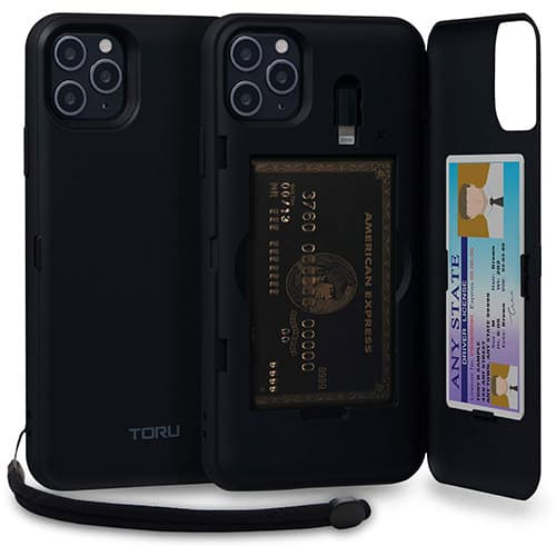 TORU CX Pro MAX Funda iPhone 11 Pro MAX Carcasa Cartera con Tarjetero Oculto, Adaptador Lightning, Correa Desmontable y Espejo para Apple iPhone 11 Pro MAX (2019) - Negro Mate