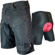Urban Cycling Apparel The Single Tracker - Pantalones cortos para bicicleta de montaña con bolsillos con zíper, conjunto con forro interior