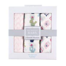 Hudson - Manta de muselina para bebé (3 piezas), Girl Cactus, Una talla