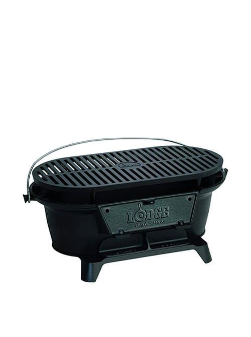 Lodge Sportsman Parrilla de hierro fundido Parrilla grande de carbón estilo hibachi para picnic, fiesta antes del partido, camping o patio. Dos alturas ajustables: