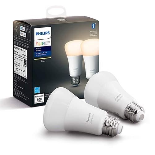 Philips Hue A19 Lámpara inteligente LED, Bluetooth, Control con la aplication, 800 lumenes, Luz suave (Soft White), Paquete de 2
